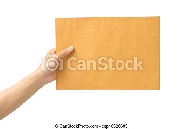 hand holding brown envelope on white background - csp46528685