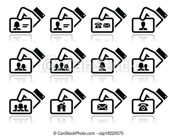 Hand holding business cards icons vector icons set of vectors hand holding business cards icons csp18220570 reheart Images