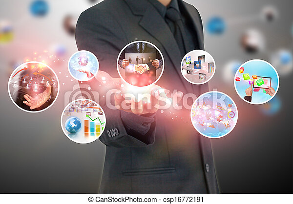 hand holding business diagram  - csp16772191