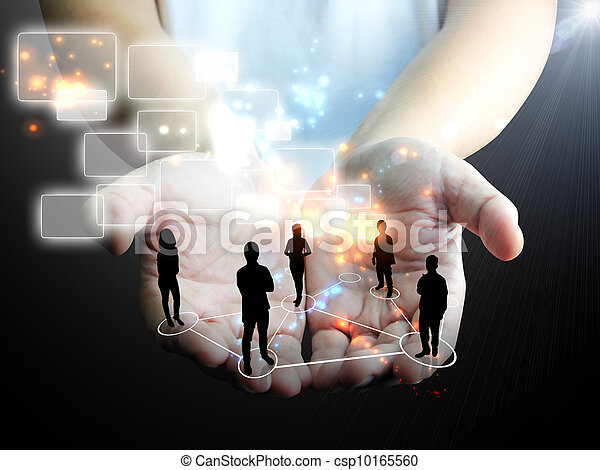 hand holding business team - csp10165560