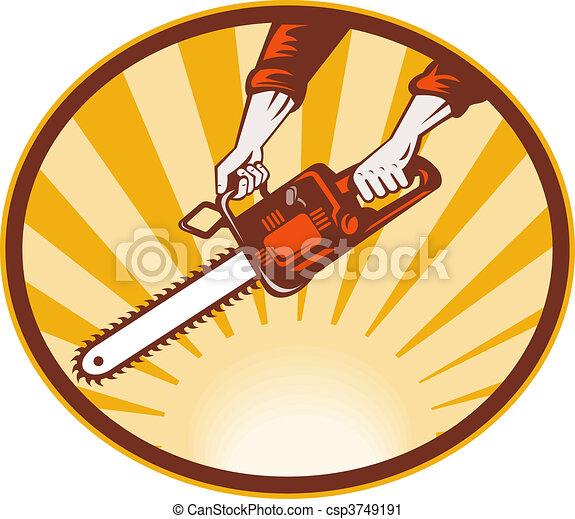 hand holding chainsaw with sunburst in background - csp3749191
