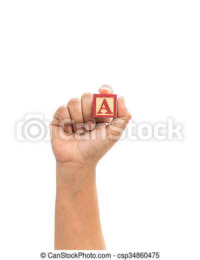 """Hand holding colorful alphabet blocks """"A"""" isolated on white - csp34860475"""