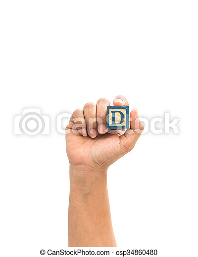 """Hand holding colorful alphabet blocks """"D"""" isolated on white - csp34860480"""