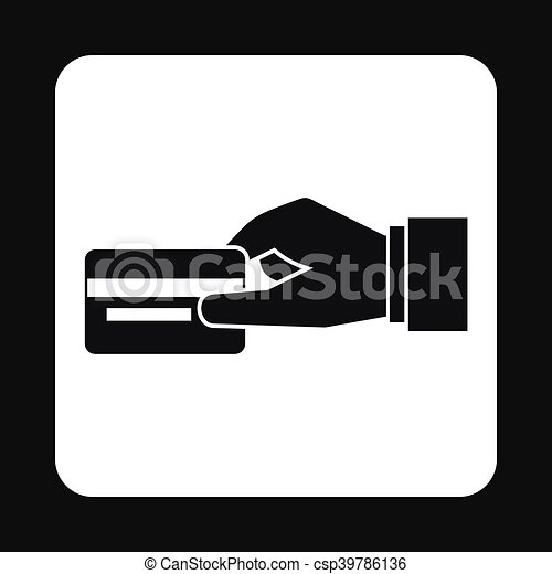 Hand Holding Credit Card Icon Simple Style Hand Holding Vectors