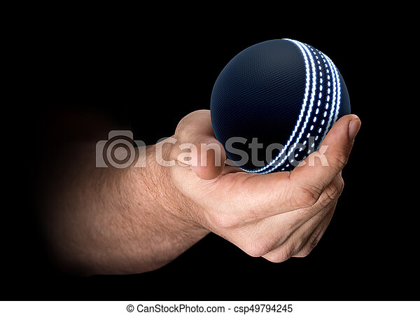 Hand Holding Cricket Ball - csp49794245