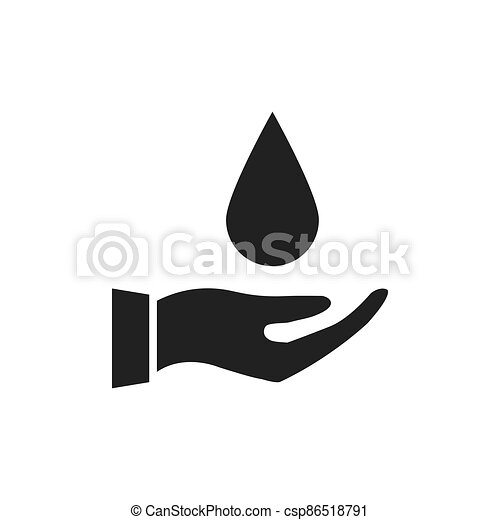 Hand holding drop water icon - csp86518791