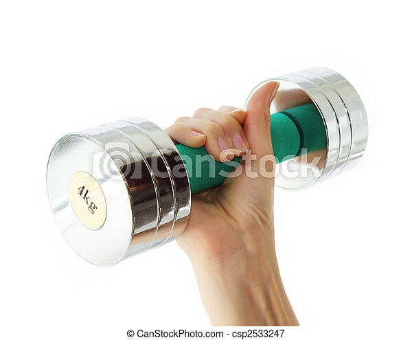 Hand holding dumbbell - csp2533247