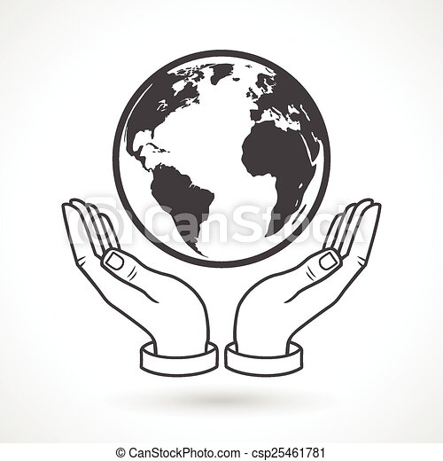 hand holding earth globe symbol hands holding earth globe symbol rh canstockphoto com hand holding earth drawing hand holding art
