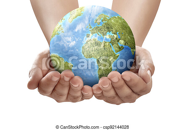 Hand holding earth - csp92144028