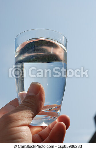 Hand holding glass of water - csp85986233