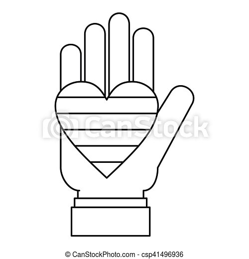 Hand holding heart of lgbt icon outline style hand holding hand holding heart of lgbt icon outline style csp41496936 voltagebd Image collections