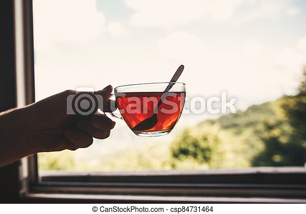 Hand holding hot tea in glass cup on background of  on beautiful landscape of woods and mountains. View from wooden window. Space for text. Travel and vacations - csp84731464