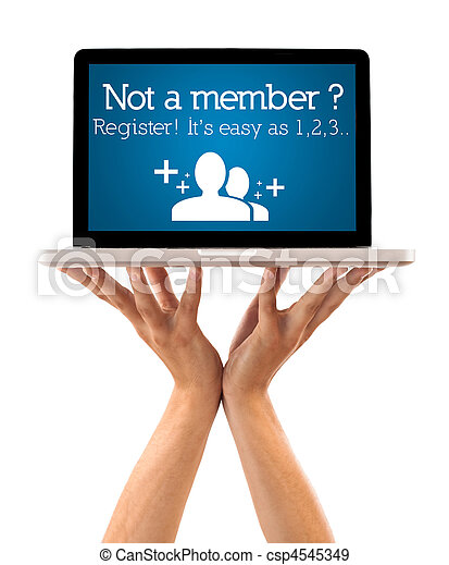 Hand holding laptop with register sign - csp4545349