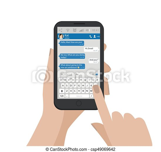 Hand holding mobile phone and send message Vector illustration  Smartphone  chat, dialog  Social network