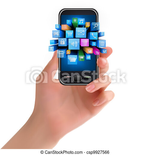 Hand holding mobile phone with icon - csp9927566