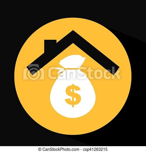 hand holding money bag dollar design - csp41263215