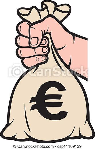 hand holding money bag (euro sign) - csp11109139