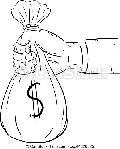 Hand holding money bag vector on white background - csp44320525