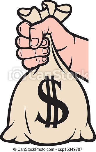 hand holding money bag with dollar - csp15349787