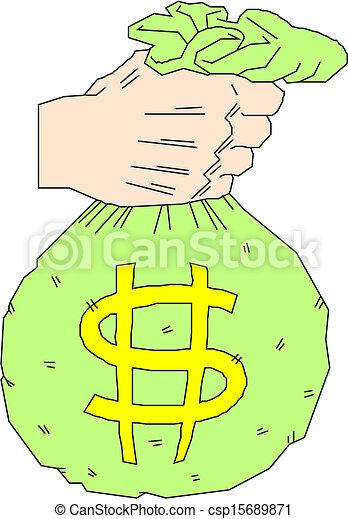 hand holding money bag with dollar  - csp15689871