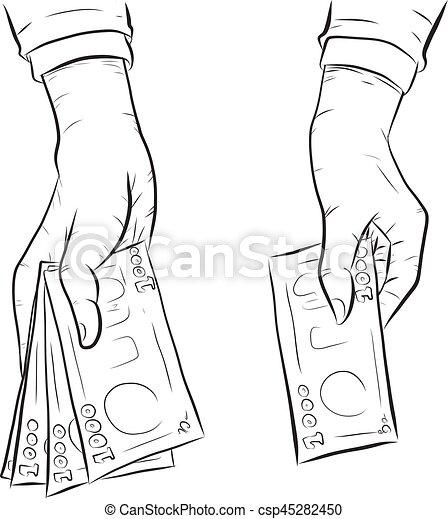 Hand holding money vector on white background - csp45282450