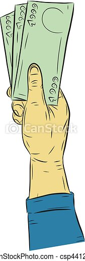 Hand holding money vector on white background. - csp44127081