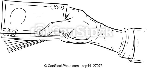 Hand holding money vector on white background - csp44127073