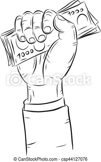 Hand holding money vector on white background. - csp44127076
