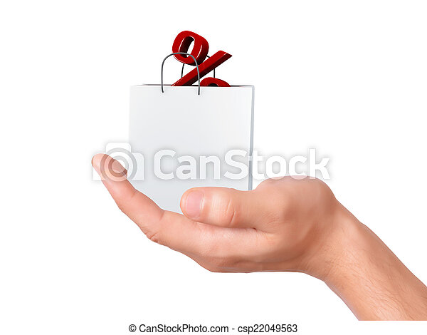 hand holding shopping bag and percent sign - csp22049563