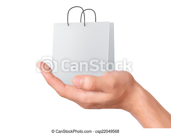 hand holding shopping bag. sale concept - csp22049568