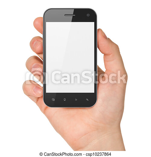 Hand holding smartphone on white background. Generic mobile smart phone, 3d render - csp10237864