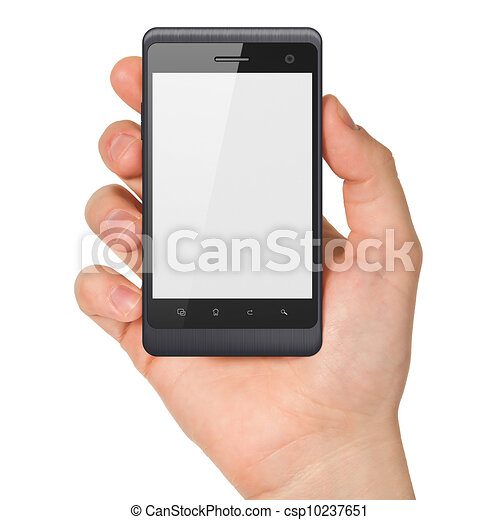 Hand holding smartphone on white background. Generic mobile smart phone, 3d render - csp10237651