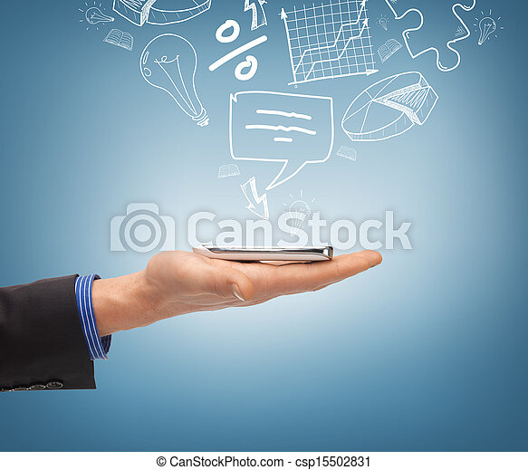 hand holding smartphone with icons - csp15502831