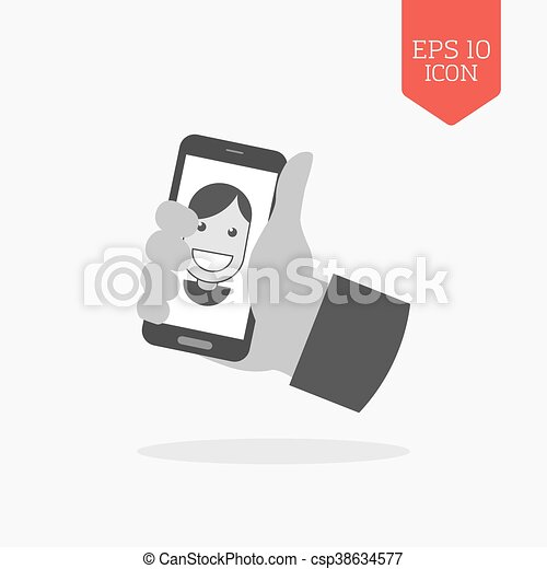 Hand holding smartphone with photo portrait icon, selfei concept. Flat design gray color symbol. Modern UI web navigation, sign. - csp38634577