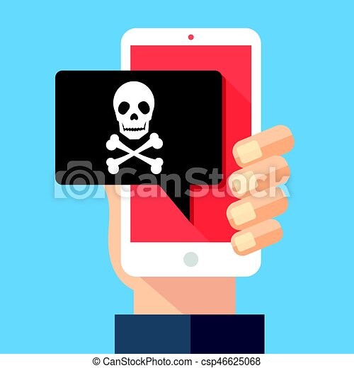 Hand holding smartphone with speech bubble and skull and bones on screen. Skull icon. Threats, mobile malware, spam messages, fraud, sms spam concepts. Modern flat design vector illustration - csp46625068