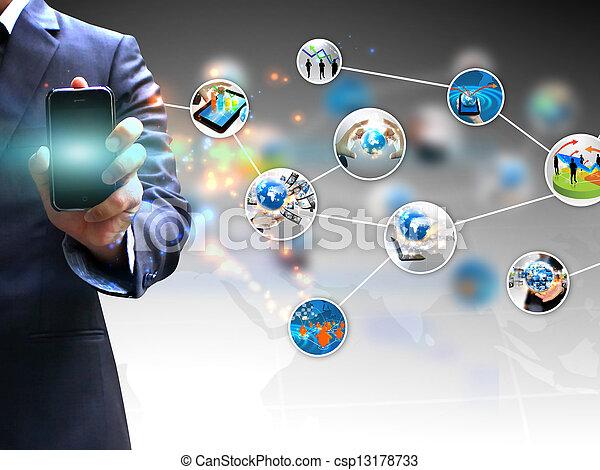 hand holding social media - csp13178733
