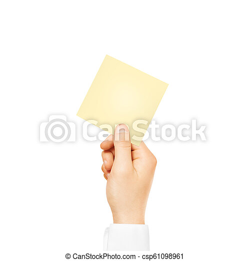 Hand holding square blank yellow sticker mock up isolated  Stick