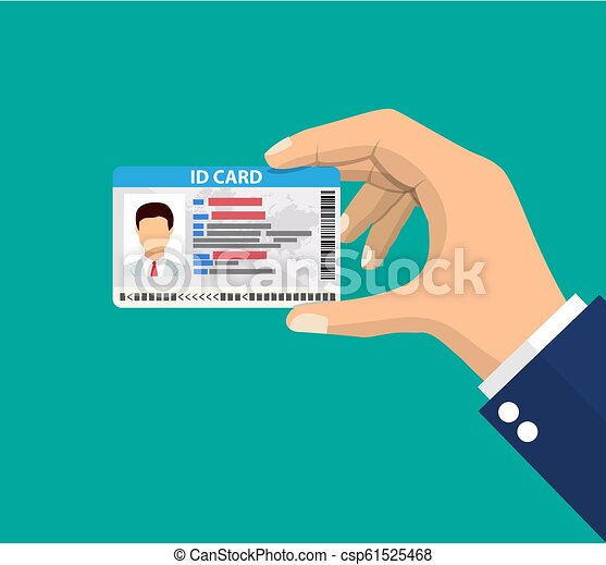 hand holding the id card. - csp61525468