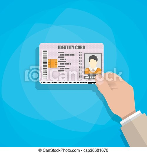 hand holding the id card - csp38681670