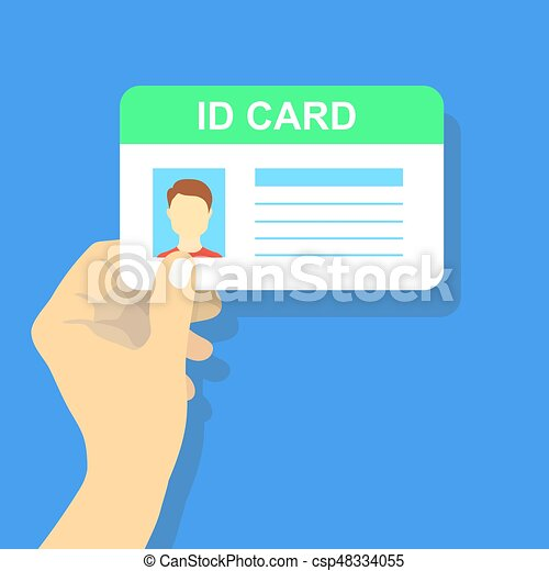 Hand holding the id card. Vector illustration. - csp48334055