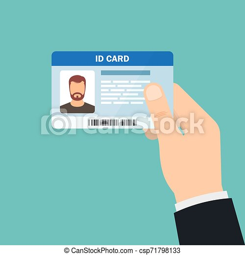 Hand holding the id card. Vector illustration - csp71798133