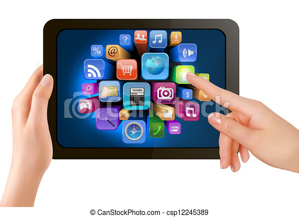 Hand holding touch pad pc and finger touching it's screen with icons. Vector - csp12245389