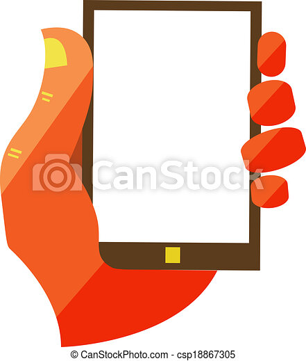 Hand Holding Touchscreen Mobile Phone - csp18867305