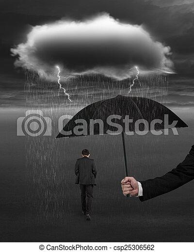 d4b0f854ba79f Hand holding umbrella protecting businessman from dark cloud rai -  csp25306562