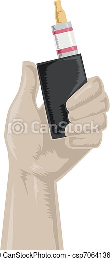 Hand Holding Vape Illustration - csp70641364