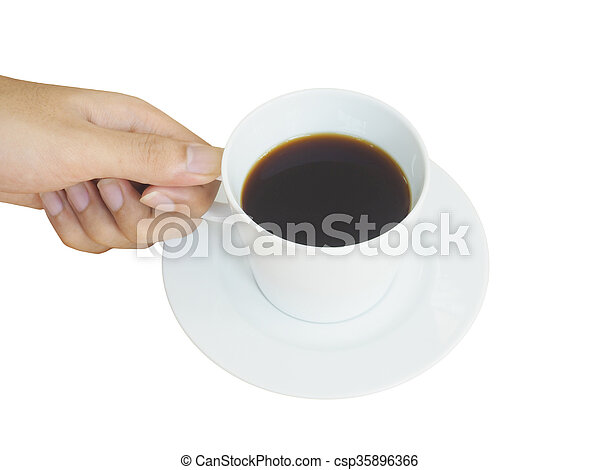 hand holding white cup of coffee - csp35896366