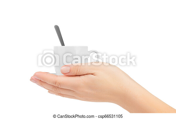 hand holding white Cup of coffee - csp66531105
