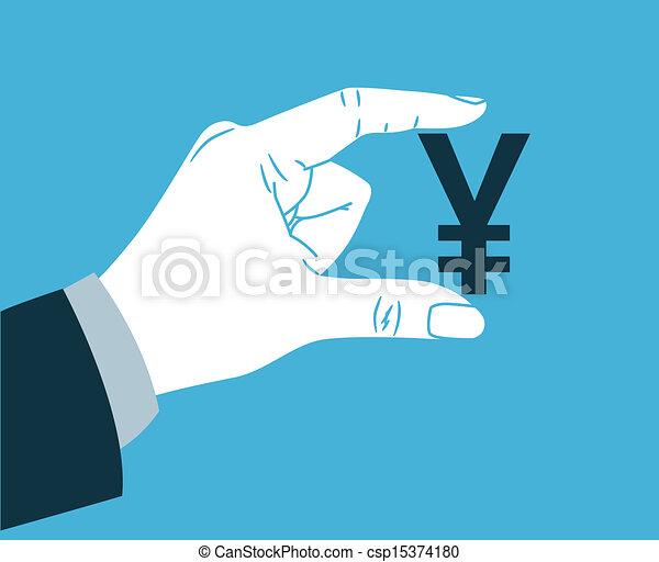 Hand holding yen symbol - csp15374180