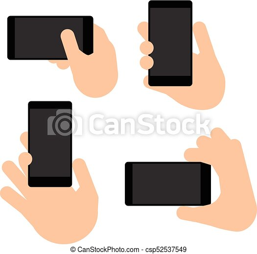 hand holds a smart phone in vertical and horizontal position hand