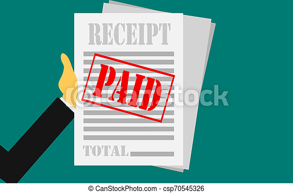 Hand holds receipt with paid stamp - csp70545326